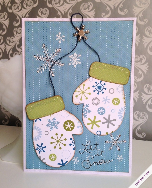 Let it snow Christmas Mitten Card