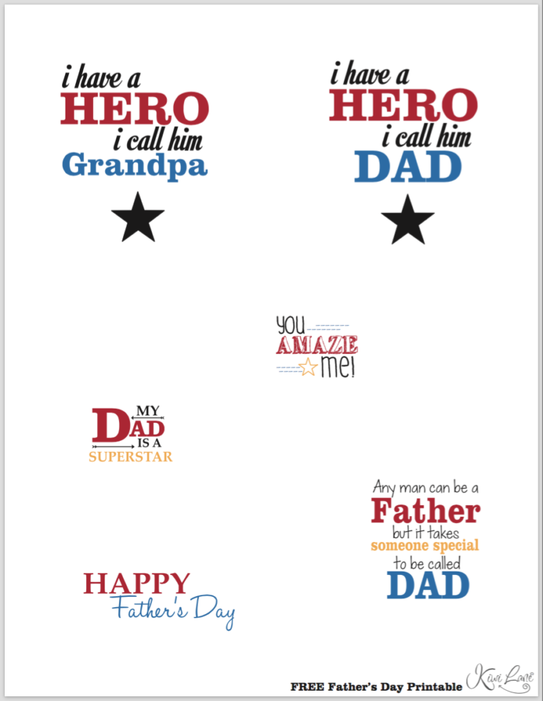 fathers day printable color
