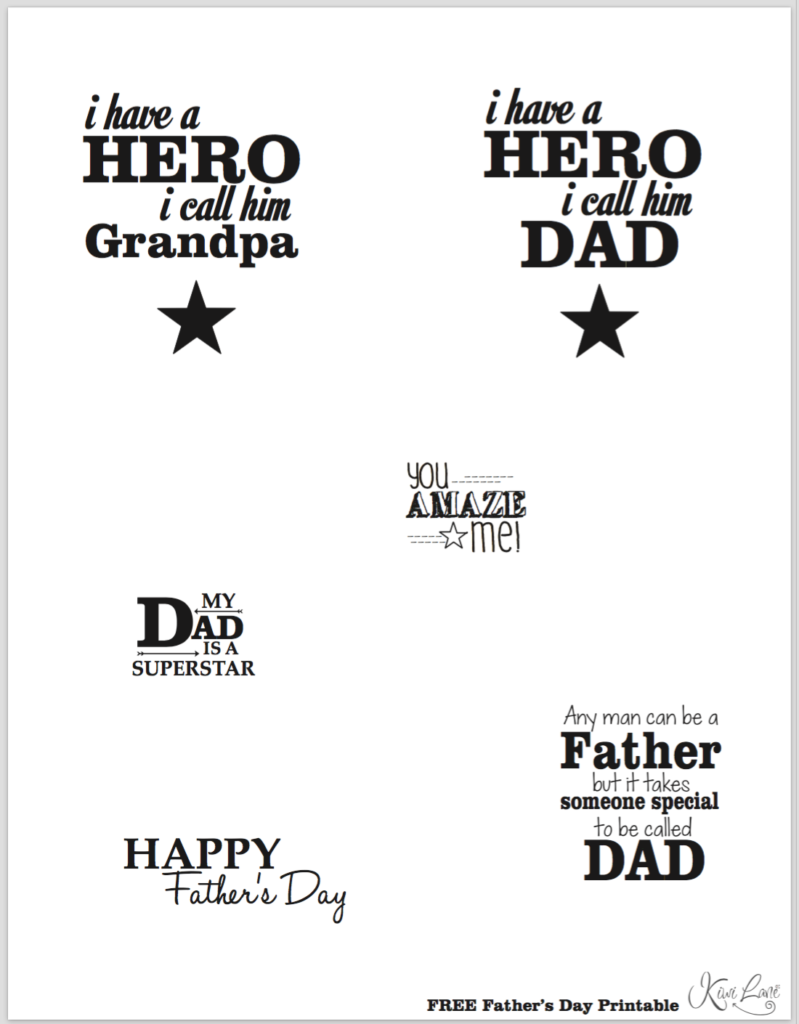 fathers day printable b&w